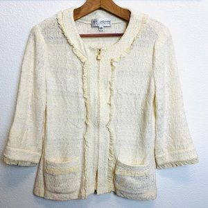 St. John knit Jacket ivory color size 10. GUC